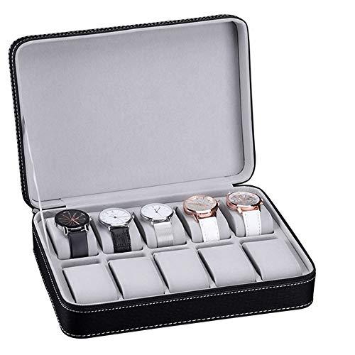 Cajas de Reloj Funda de piel portátil Pantalla 10 cuadrículas reloj de...