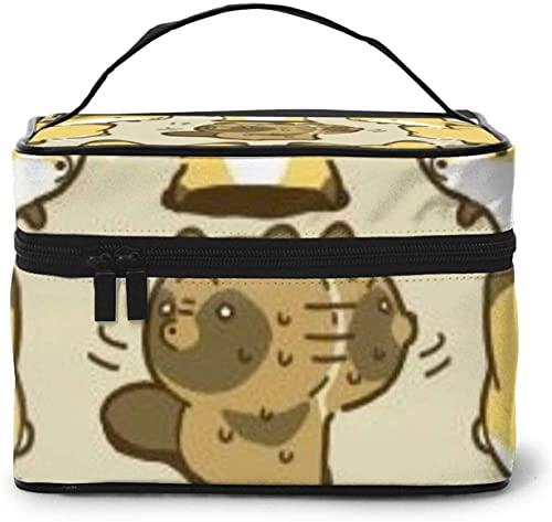Raccoon Cute Yellow Fox (5) Diseño grande bolsa de maquillaje para mujer portátil estuche cosmético organizador viaje con cremallera de malla cepillo bolsillo aseo con asa chica