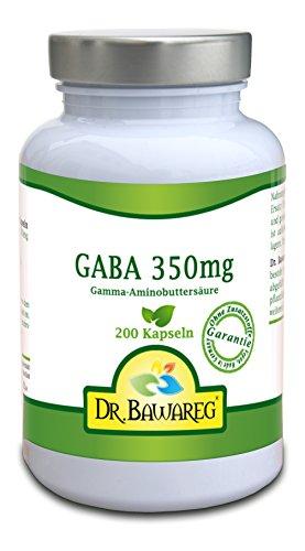 GABA - 200 Vegi-Kapseln - 350mg reine Gamma Aminobuttersäure ohne Zusätze- Dr. Bawareg
