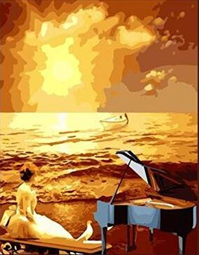 Professional Diy Digital Painting Piano Seaside Sunset At Best Gift Digital Oil Painting High Quality Paint, Canvas 40X50Cm