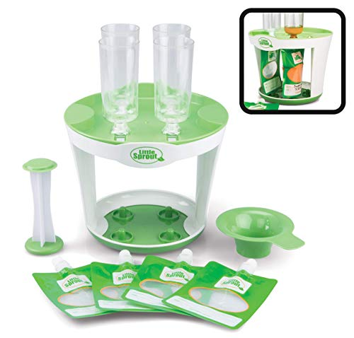 Baby Food Maker For Infants & Toddlers (11 Piece Set)- Make 4 6oz Food Squeeze Purees at Once w/ Fill Station, Pouches, Funnel, Tubes & Plunger-...