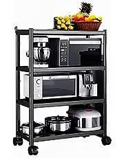 キッチン収納ラック多層電子レンジラックキッチン、ベッドルーム、ステンレススチールブラック用の自由に移動可能なプーリー付き