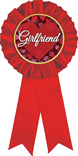 Girlfriend Red Rosette Ribbon Award, Girlfriend Red Rosette Trophy Ribbon Prize, 100PK
