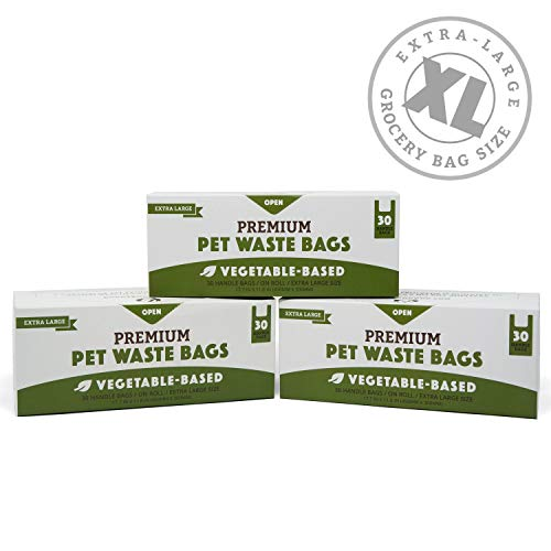 Biodegradable Poop Bags | XL Cat Litter/X-Large Dog Waste Bags, Vegetable-Based & Eco-Friendly, Premium Thickness & Leak Proof, Easy-Tie Handles, Supports Rescues 3-Pack (90 ct)