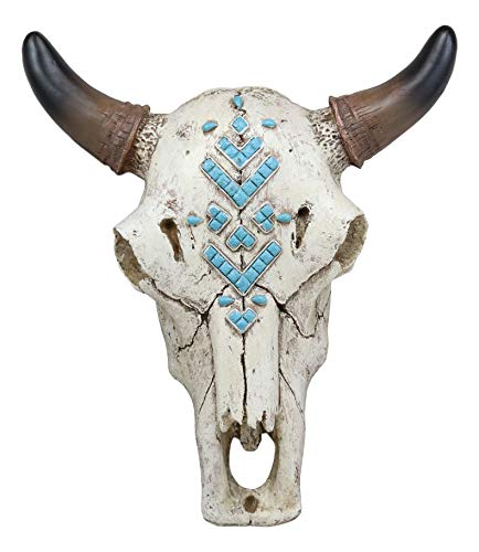 """Ebros 9"""" Wide Western Southwest Steer Bison Buffalo Bull Cow Horned Skull Head With Turquoise Beads Inlay Down Arrow Design Wall Mount Decor Native Indian Animal Totem Bust Skulls"""