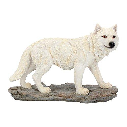 NN Dekofigur Polarwolf weisser Wolf Western Indianer Alaska Dekoration Wolfsfigur Wolve