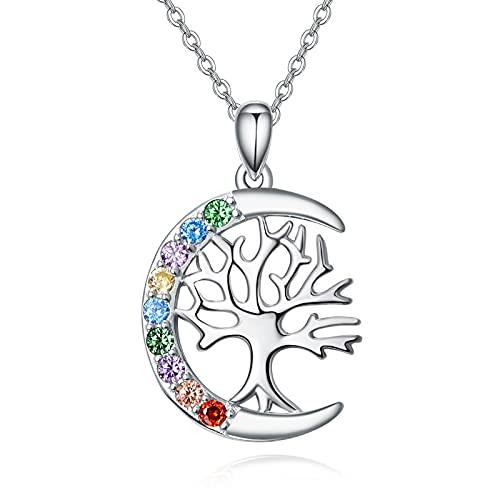 Collar con colgante de árbol de la vida de plata de ley 925 con circonita, regalo para mujeres y madres