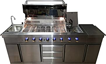 3 in 1 Stainless Steel Outdoor BBQ Kitchen Island Grill Propane LPG w/ Sink, Side Burner, LED Lights, and Canvas Cover