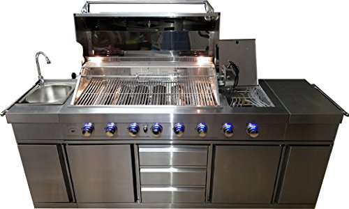 SDI Factory Direct 3 in 1 Stainless Steel Outdoor BBQ Kitchen Island Grill Propane LPG w/Sink, Side Burner, LED Lights, and Canvas Cover