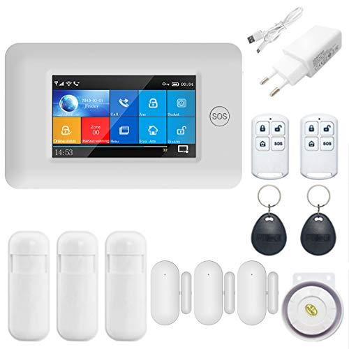 Naotai - Sistema de Alarma inalámbrico para el hogar, 1 Juego de Tarjeta RFID gsm GPRS con Pantalla Colorida, Blanco