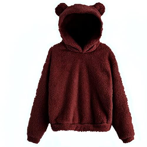 Suéter para mujer rosa con orejas de oso, forro polar, sudadera con capucha fija para niñas, de manga larga, informal, con orejas, suave y cálida, elegante, de felpa, monocolor, Vino, 5X-Large