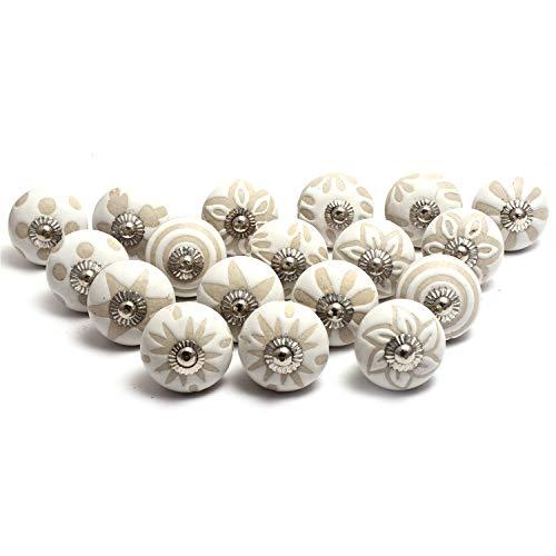 Naqsh Pomelli in ceramica dipinti a mano, per armadi, cassetti (20, bianco beige)