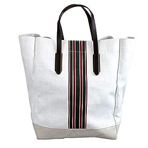 Fashion Shopping Gucci Men's 100 White Canvas Large Web Tall Tote Handbag 338964