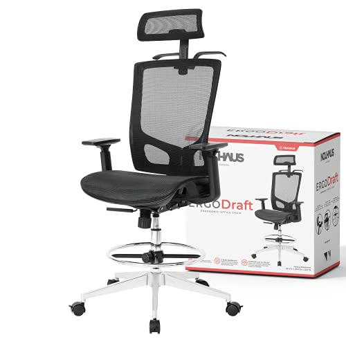 NOUHAUS ErgoDraft Drafting Chair, Tall Office Chair, Shop Stool Chair or Standing Desk Chair. Adjustable Chair (Black)
