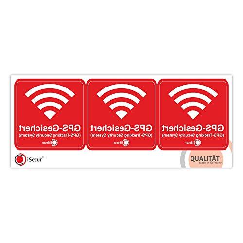 3er Aufkleber-Set GPS-Gesichert I 6 x 6 cm I Warnung GPS-Tracking Security System I Achtung Alarm-gesichert I innen-klebend wetterfest I hin_502