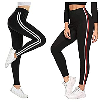 Fitg18® Gym wear Leggings Ankle Length Free Size Combo Workout Trousers | Stretchable Striped Jeggings | Yoga Track Pants for Girls & Women (Pack of 2-Free Size 28-34 Inch)