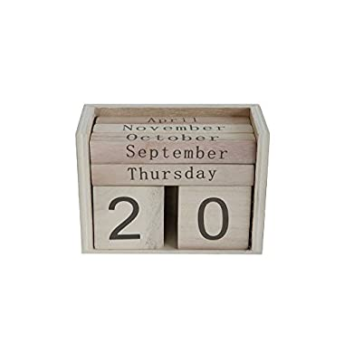 Creative Co‑op Notion Letter Blocks - Retail Packaging - 5.5 L X 2.5 W X 4 H Wood Perpetual Calendar