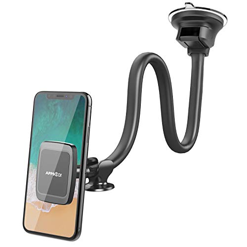 Magnetic Truck Car Phone Mount with 13-inch Flexible Long Arm, Anti-Shake Cell Phone Holder for Truck, 360 Rotation Windshield Dashboard Strong Suction Car Mount for iPhone 12 11 XS X Samsung Galaxy