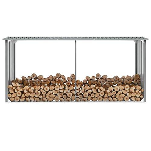 Tidyard Garden Log Storage Shed Outdoor Large Log Store Galvanised Steel 330x92x153 cm Grey