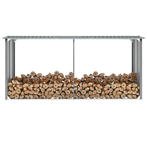 Fantastic Deal! Canditree Outdoor Heavy-Duty Firewood Log Rack, Firewood Storage Shed Galvanized Ste...
