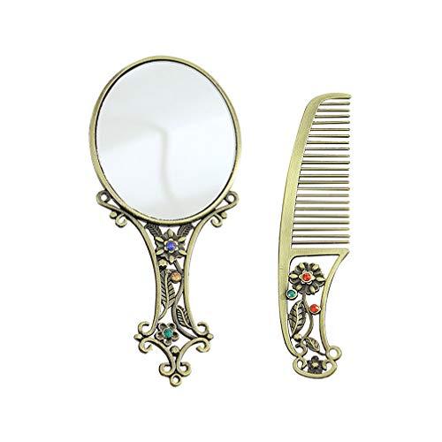 Beaupretty Ensemble de Peignes de Miroir à Main en Métal Vintage Miroir de Poche Antique avec Poignée Ensemble de Peigne à Miroir de Maquillage de Vanité Creuse