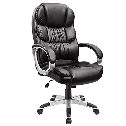 Homall Bürostuhl Chefsessel Drehstuhl Computerstuhl Kunstleder Schreibtischstuhl Ergonomischer Bürosessel Verdickte Rückenlehne (Schwarz)