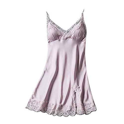 BHYDRY Conjunto de lencería de Mujer Pijamas Babydoll Ropa de Dormir Sexy Ropa Interior Abrigo de Encaje Ropa de Dormir