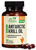 Antarctic Krill Oil Supplement 1000mg Extra Strength Krill with Omega 3, EPA, DHA, and Astaxanthin - Made in USA - Heart and Joint Support, Non-GMO, No Fishy Aftertaste for Men Women - 60 Softgels