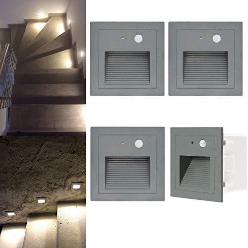 Wandeinbauleuchte aussen LED Treppenlicht Wandleuchte mit Bewegungsmelder Quadratische LED Treppenbeleuchtung Stufenbeleuchtung Stufenleuchte, Aluminium, 230V 3W (warmweiß, 4er Set)