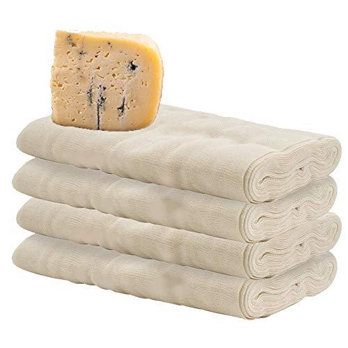 CANDeal 4-Pack 4 Yard Grade-90-Käsetücher, 100% ungebleichtes Baumwoll-Musselin-Tuch zum Sieben von Filtern von Weinbier, Dämpfen, Obst und Milch zu Hause