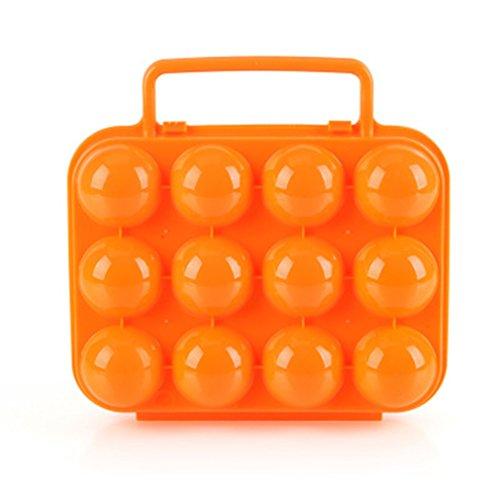 BrilliantDay Acampada Huevera de plástico Plegable, para 12 Huevos, Color Naranja