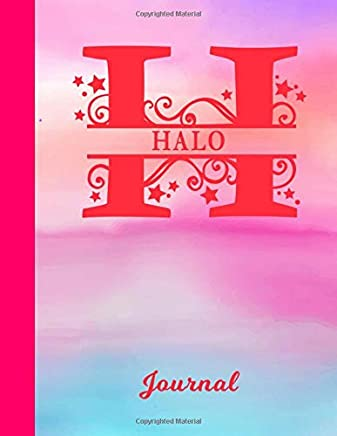 Halo: Blank Journal - Personalized First Name & Letter Initial Personal Writing Diary | Glossy Pink & Blue Watercolor Effect Cover | Daily Journalism Entries for Journalists & Writers | Note Taking | Write about your Life, Goals & Interests