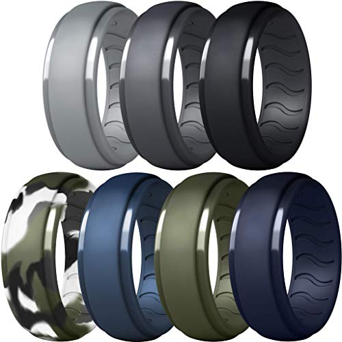 Dookeh Breathable Mens Silicone Wedding Rings, Rubber Ring Bands For Men, Black Blue Camo Engagement Band, Best for Workout, 1-4-7 Pack (Y-Gray,Dgray,Black,Forest Camo,Blue,Green,Navy Blue, 10)