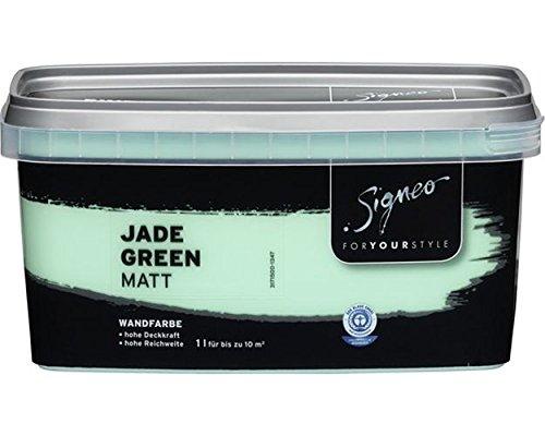 Signeo Bunte Wandfarbe, JADE GREEN, Türkis, matt, elegant-matte Oberflächen, Innenfarbe, 1 Liter