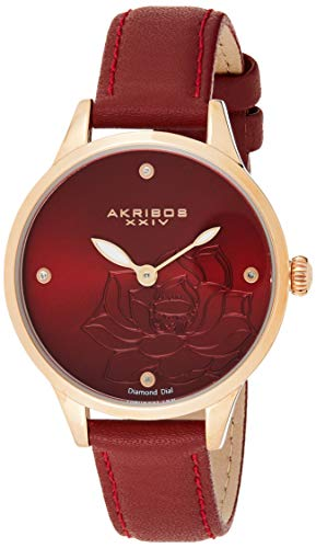Akribos XXIV Women's Diamond Accented Flower Engraved Dial Rose Gold & Red Leather Strap Watch - Packed in a Beautiful Gift Box, Perfect for Mothers Day - AK1047RD