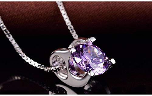 Good dress S925 Silber Anhänger Vakuum Beschichtung Halskette Weiblichen Silberschmuck, Lila Diamantanhänger, Wie Gezeigt