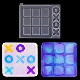 Endoto Tic Tac Toe Games Mold XO Board Resin Molds Kit, Silicone Epoxy Resin Casting Molds DIY Craft for Coffee Table Living Room Decor and Desk Decor Family Games - Large
