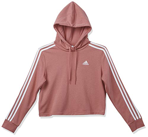 adidas,Womens,3-Stripes French Terry Cropped Hoodie,Hazy Rose/White,X-Small