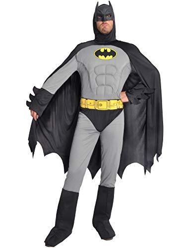 Ciao- Batman Classic Costume Adulto Originale DC Comics (Taglia L) con muscoli pettorali imbottiti Disfraces, Color Gris/Negro, 11685