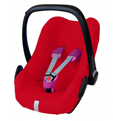 ByBoom - Universal Sommerbezug, Schonbezug aus 100% Baumwolle, für Babyschale, Autositz, z.B. Maxi Cosi CabrioFix, City, Pebble; Designed in Germany, MADE IN EU, Farbe:Rot