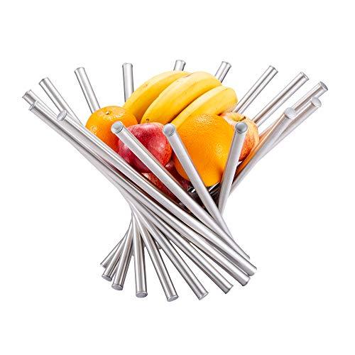 Hello Cucina - Frutero decorativo de acero inoxidable, diseño único y moderno, soporte de almacenamiento de frutas con diseño abierto
