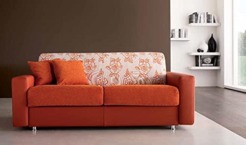 Sofá cama moderno de dos plazas, mezcla de tela y piel sintética de color naranja con respaldo de fantasía floral beige y naranja