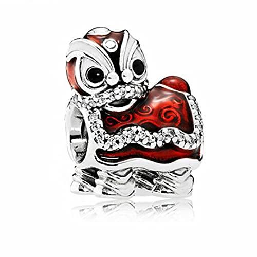 Plata 925 Esmalte De Cristal De Alta Calidad Estilo Chino Red Lion Dance Beads Pandora Charms Para Mujeres Diy Jewelry Regalo De Navidad Para Novia