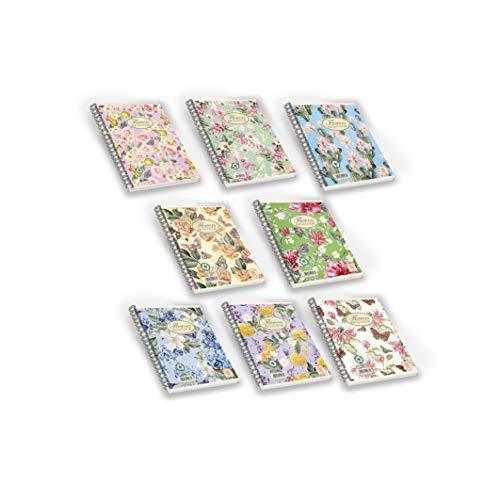 Pigna Nature Flowers , 02182575M , Quaderno con Spirale, f.to A4 , Quaderni a quadretti 5mm, Confezione da 5 Pz.