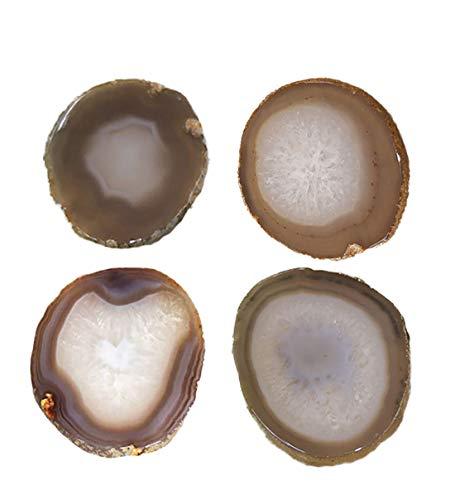 "Porta-copos de ágata cortado natural com para-choque de borracha conjunto de 4, Natural, 3-3.5"", 1"