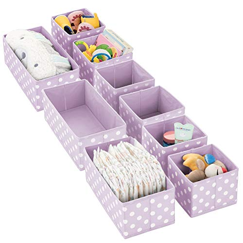 mDesign Soft Fabric Dresser Drawer and Closet Storage Organizer Set for Child/Kids Room, Nursery, Playroom - Organizing Bins in 2 Sizes - Polka Dot Pattern, Set of 9 - Light Purple with White Dots