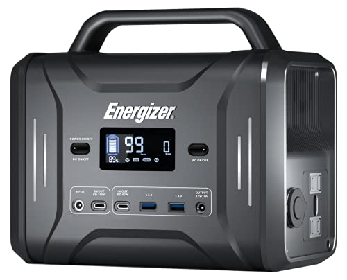 Energizer Portable Power Station 320Wh/300W Solar Generator Fast Charging by LiFePO4 Batteries,Multiple Charging Ports and LED Flashlight, Emergency Power Supply for Indoor/Outdoor/Camping/Clambing