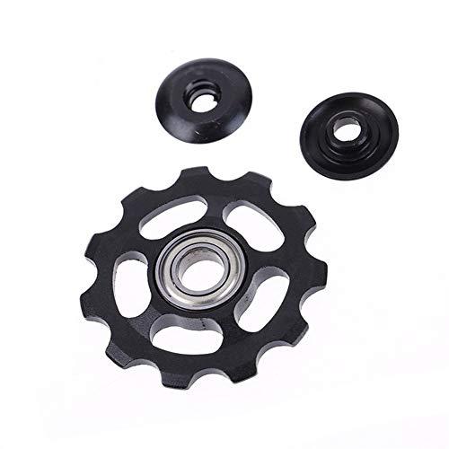NOBRAND Polea Guía de la Bici del Camino de rodamiento de 4 mm 5 mm 6 mm Rueda Jockey 11T Rodillo de Bicicletas MTB Cambio Trasero (Color : Black)