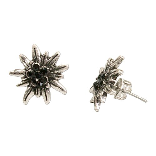 Alpenflüstern Trachten-Ohrstecker Strass-Edelweiß mini - Damen-Trachtenschmuck, Trachten-Ohrringe antik-silber-farben mit Strass-Steinen schwarz DOR033