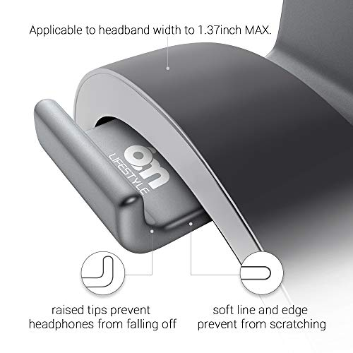 Headset Mount, 6amLifestyle Headphone Holder Aluminum Under Desk Dual Headphones Stand Hanger Stick-On Hooks Universal for All Headsets, Gray (Patented)
